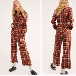 Free people all about you plaid retro jumpsuit 6